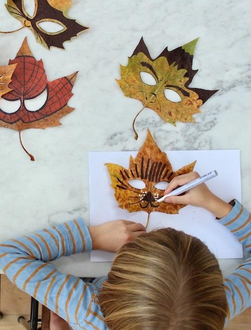 masky pro děti javorové listy